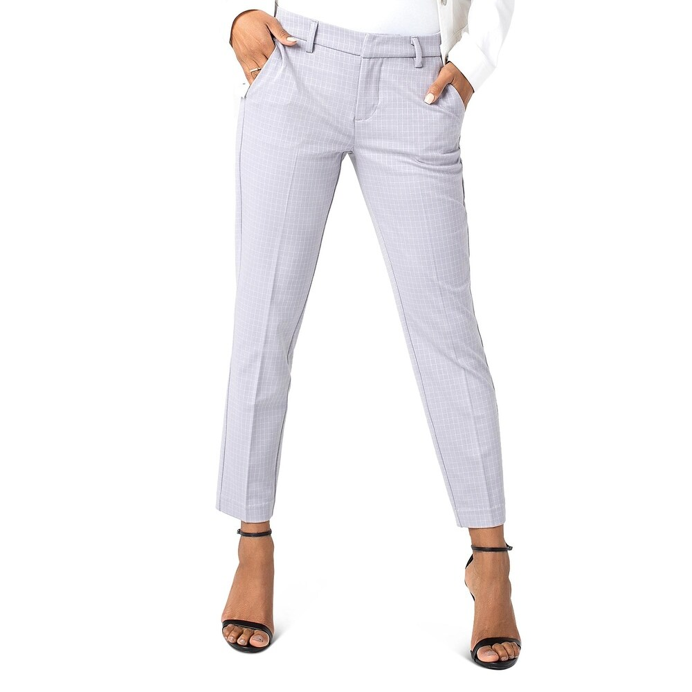 Liverpool Womens Kelsey Novelty Trouser Pants Check Print Cropped - Grey Grid