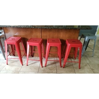 24-inch Red Metal Counter Stools (Set of 2)