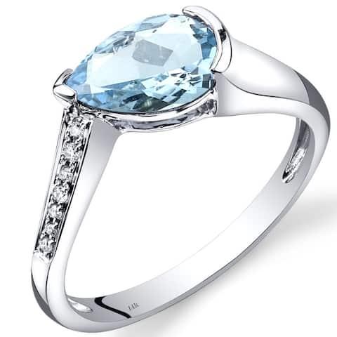 14 Karat White Gold Aquamarine Diamond Tear Drop Ring 1.29 Carats