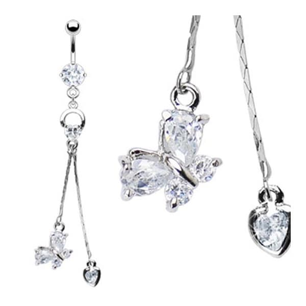 316L CZ Prong-Set Navel Belly Button Ring with Prong Heart Loop and Gem Butterfly & Heart Dangle
