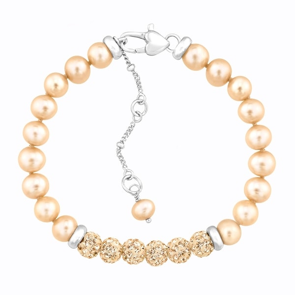 Crystaluxe Girl's Champagne Freshwater Pearl Bracelet with Swarovski elements Crystals in Sterling Silver