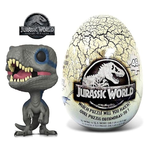 Funko POP Movies Jurassic World 2 Blue and 46 Piece Mystery Egg Puzzle (2 Items)