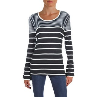 Aqua Womens Pullover Sweater Striped Bell Sleeves
