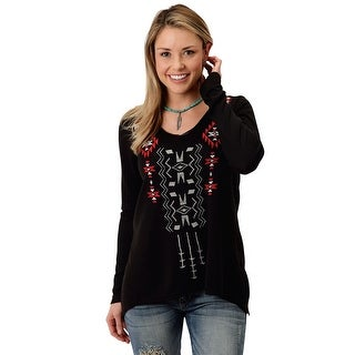 Roper Western Sweater Womens L/S V Neck Black 03-038-0513-7014 BL