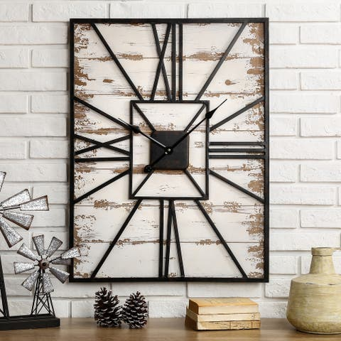 """Antique Farmhouse Oversized Wooden Wall Clock by Glitzhome - 23""""Lx31""""H"""