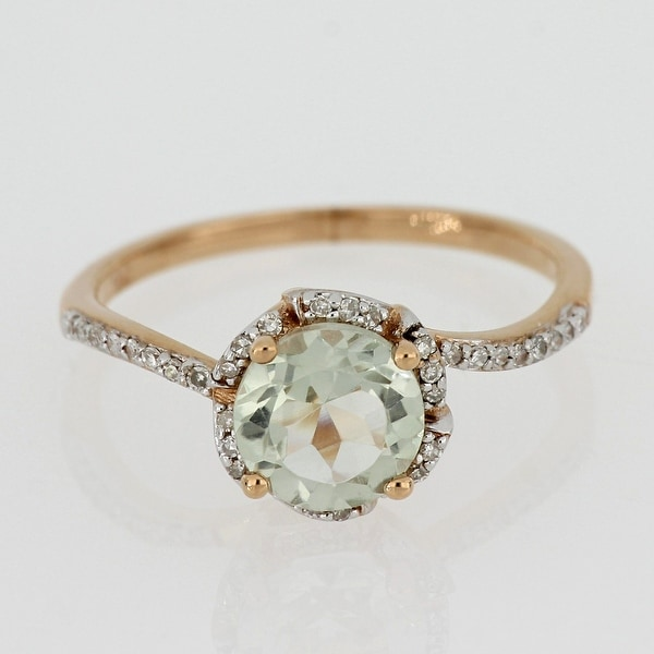 Green Amethyst and 1/10ct TDW Diamond Floral Halo Ring in 14k Rose Gold by Miadora - Purple. Opens flyout.
