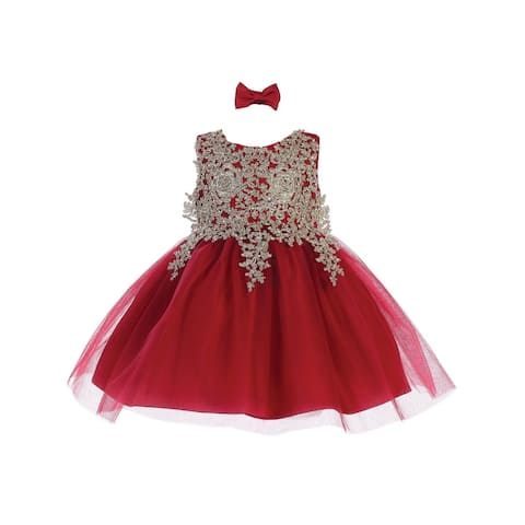 Tip Top Kids Baby Girls Burgundy Lace Applique Tulle Pageant Dress