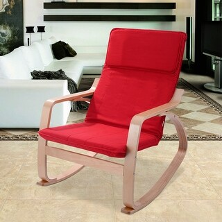 Costway Red Rocking Chair Armchair Leisure Lounge Accent Living Room Furniture