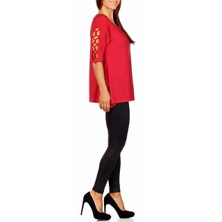 Funfash Plus Size Clothing Women Red Lace Open Shoulders Sleeves Top