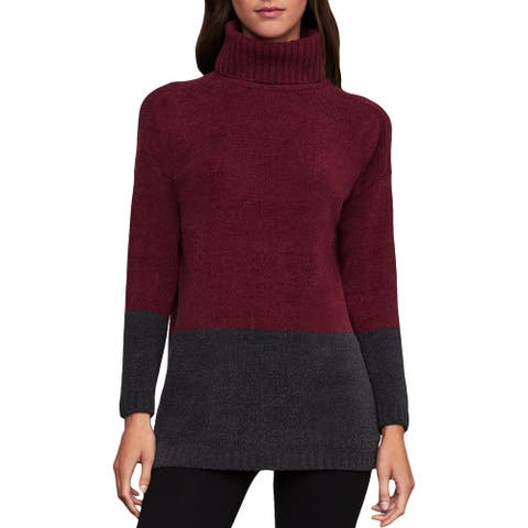 BCBG Max Azria Womens Pullover Sweater Turtleneck Colorblock