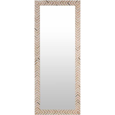 """Egon Geometric Bone Inlay 27x68-inch Leaning Mirror - 68""""H x 27""""W"""