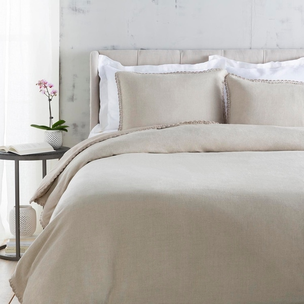 "108"" Serene Soft Gray Button Closure Duvet Cover for King Size Bed"
