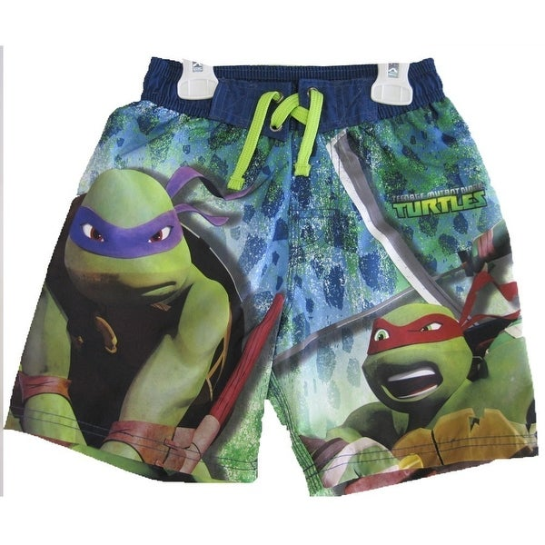 5f1cd04c4908b Shop Nickelodeon Boys Green Navy Ninja Turtle Printed Swim Wear Shorts 8-16  - Free Shipping On Orders Over $45 - Overstock - 18173565