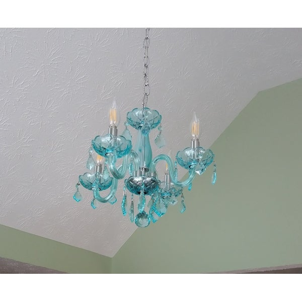 Shop Kids\' Room Glamorous Turquoise Blue Crystal 4-light Full Lead ...