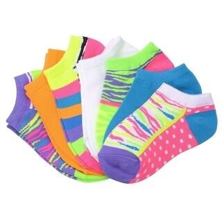 Everlast Women Tiger Print Multicolor Assorted 7 Pair Low Cut Socks 9-11 women