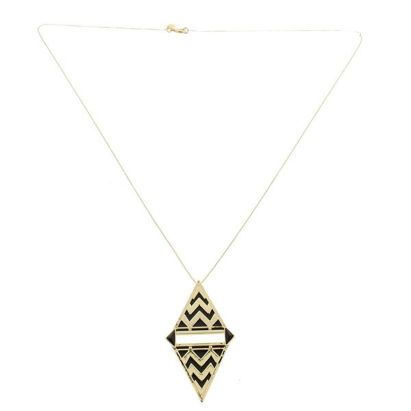 House Of Harlow 1960 Womens Pendant Necklace Leather Tribal - hunter green/gold
