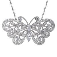 Butterfly Pendant with Swarovski Zirconia in Sterling Silver - White