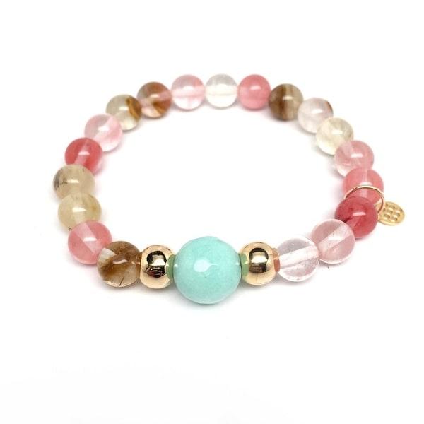 "Pink Cherry Quartz Pride 7"" Bracelet"
