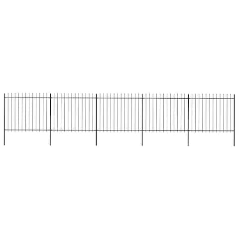 "vidaXL Garden Fence with Spear Top Steel 334.6""x59.1"" Black"