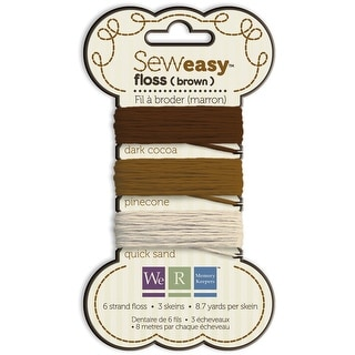 Sew Easy Solid 6-Strand Floss 8.7yd 3/Pkg-Brown