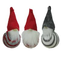 Set of 3 Decorative Red White and Gray Santa Gnome Hanging Christmas Ornaments 4.75""