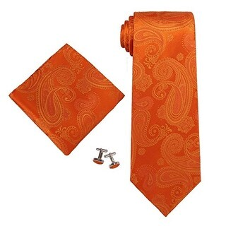 Men's Orange Paisley 100% Silk Neck Tie Set Cufflinks & Hanky