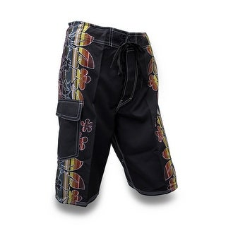 Black Board Shorts w/Striped Hibiscus Flowers
