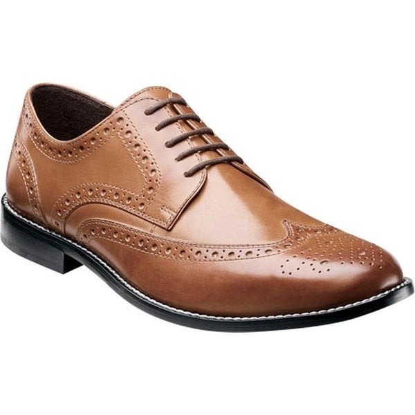 4a5b83683dc4a Shop Nunn Bush Men s Nelson Wing Tip Oxford Cognac Smooth Leather ...
