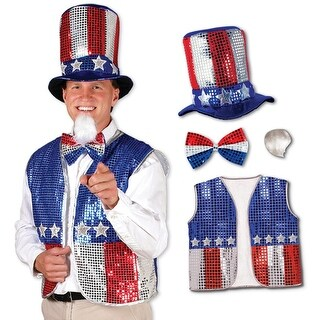 Patriotic Red, Silver and Blue Sequined Uncle Sam Costume Accessory Set