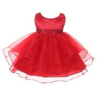Chic Baby Girls Red Organza Embellished Waist Flower Girl Dress