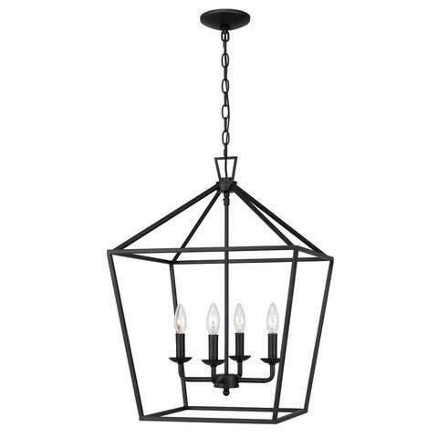 Charleston 4-Light Matte Black Finish Linear Pendant Light - Large