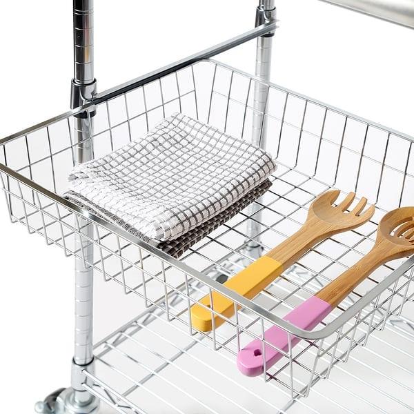 Porch Den Allerton Stainless Steel Kitchen Work Table Cart Overstock 20340166