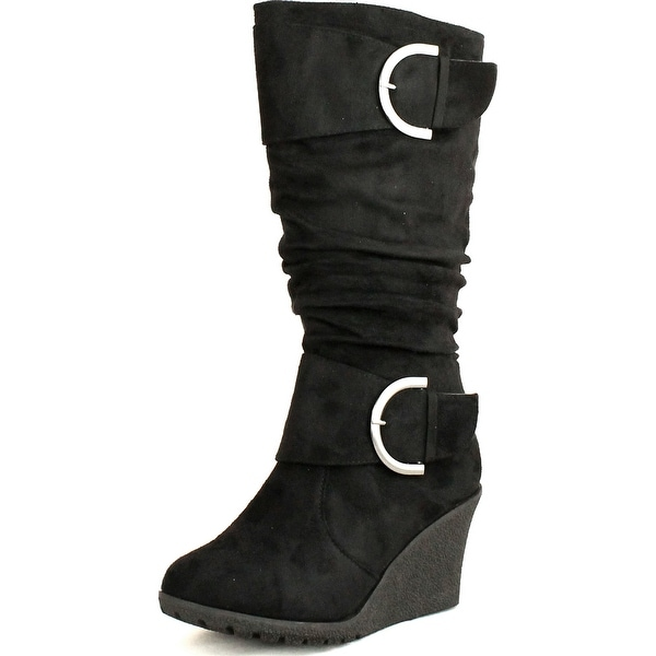 Top Moda Womens Pure-2 Buckle Slouch Wedge Boots