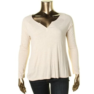 Hippie Rose Womens Split Neck Hi-Low Henley Top