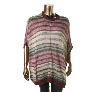 Two by Vince Camuto Womens Knit Metallic Poncho Sweater