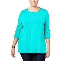 Karen Scott Womens Plus Pullover Sweater Knit Ribbed Trim