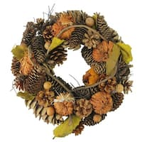 "13.25"" Autumn Harvest Pine Cones and Gourds Artificial Thanksgiving Wreath - Unlit - brown"