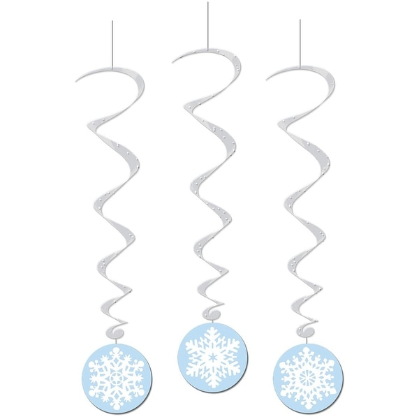 Club Pack of 18 Winter Wonderland Themed Snowflake Whirls Hanging Party Decorations 3.5'