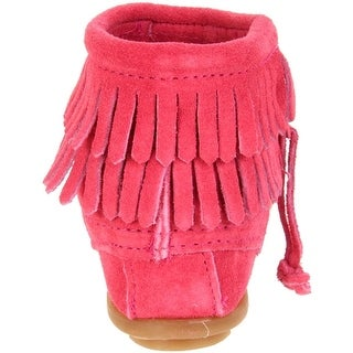 Minnetonka Girls Double Fringe Suede Moccasin Boots - 2