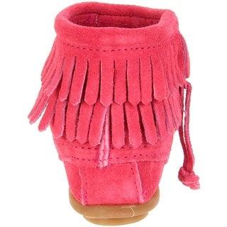 Minnetonka Girls Suede Fringe Moccasin Boots - 4
