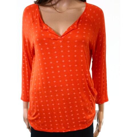 Moa Moa Orange Womens Size Large L Long Sleeve Cross Print Knit Top