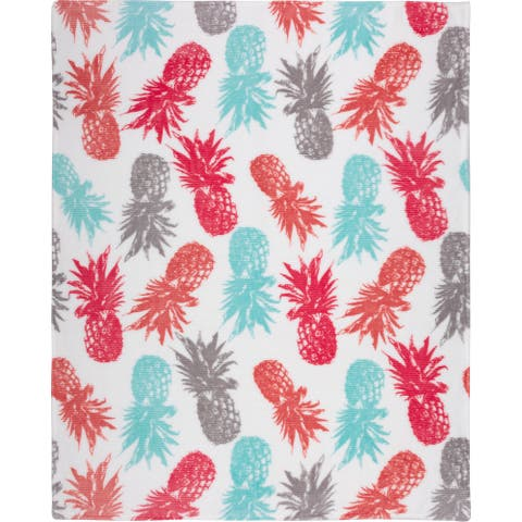 Throw Ribbed Printed Flannel Pineapples