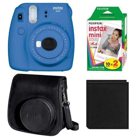 Fujifilm Instax Mini 9 (Cobalt) w/ Groovy Case & Film Bundle