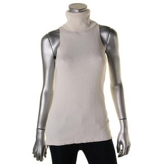 DKNYC Womens Hi-Low Sleeveless Turtleneck Sweater - M