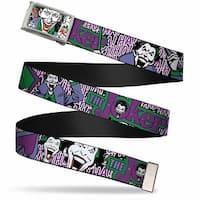 Joker Face W Pistol Close Up Fcg  Chrome Joker Face Logo Spades Black Web Belt