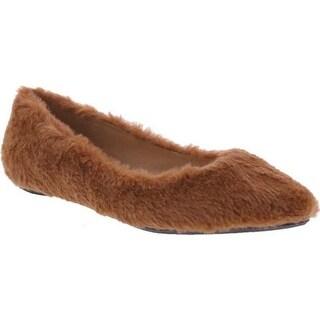 Penny Loves Kenny Women's Aaron Fuzzy Flat Tan Faux Fur