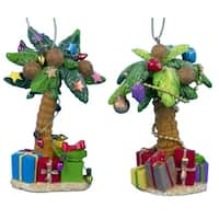 """Club Pack of 12 Beach Party Palm Tree with Presents Christmas Ornaments 4.25"""" - multi"""