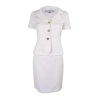 Tahari ASL Women's Jacquard Short Sleeve Skirt Suit - White
