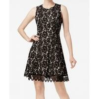 DONNA RICCO Black Women's Size 4 Floral Lace Sheath Dress