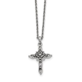 Silvertone Marcasite Cross Necklace - 18in